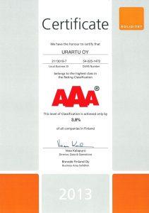 AAA Certificate 2013